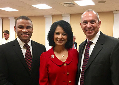 Phillip Jefferson ('17), President Renu Khator, and Kevin Mitchell